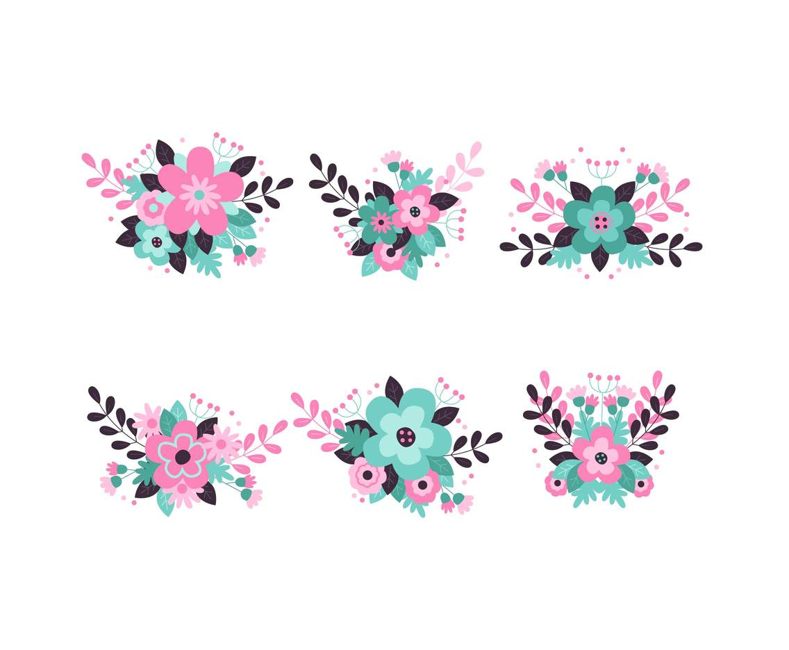 Pastel Flowers Clipart Vector Vector Art & Graphics.