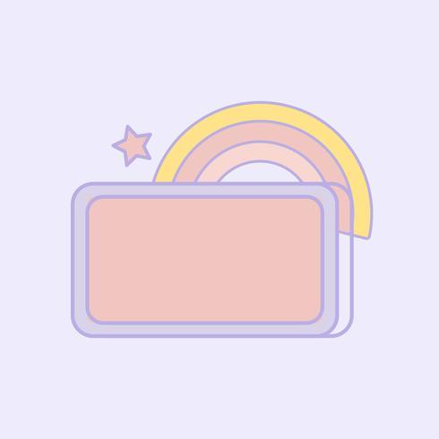 Cute pastel rainbow sign vector.