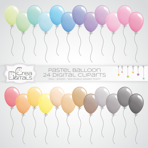 Pastell Luftballons 24 digitale Cliparts INSTANT DOWNLOAD.