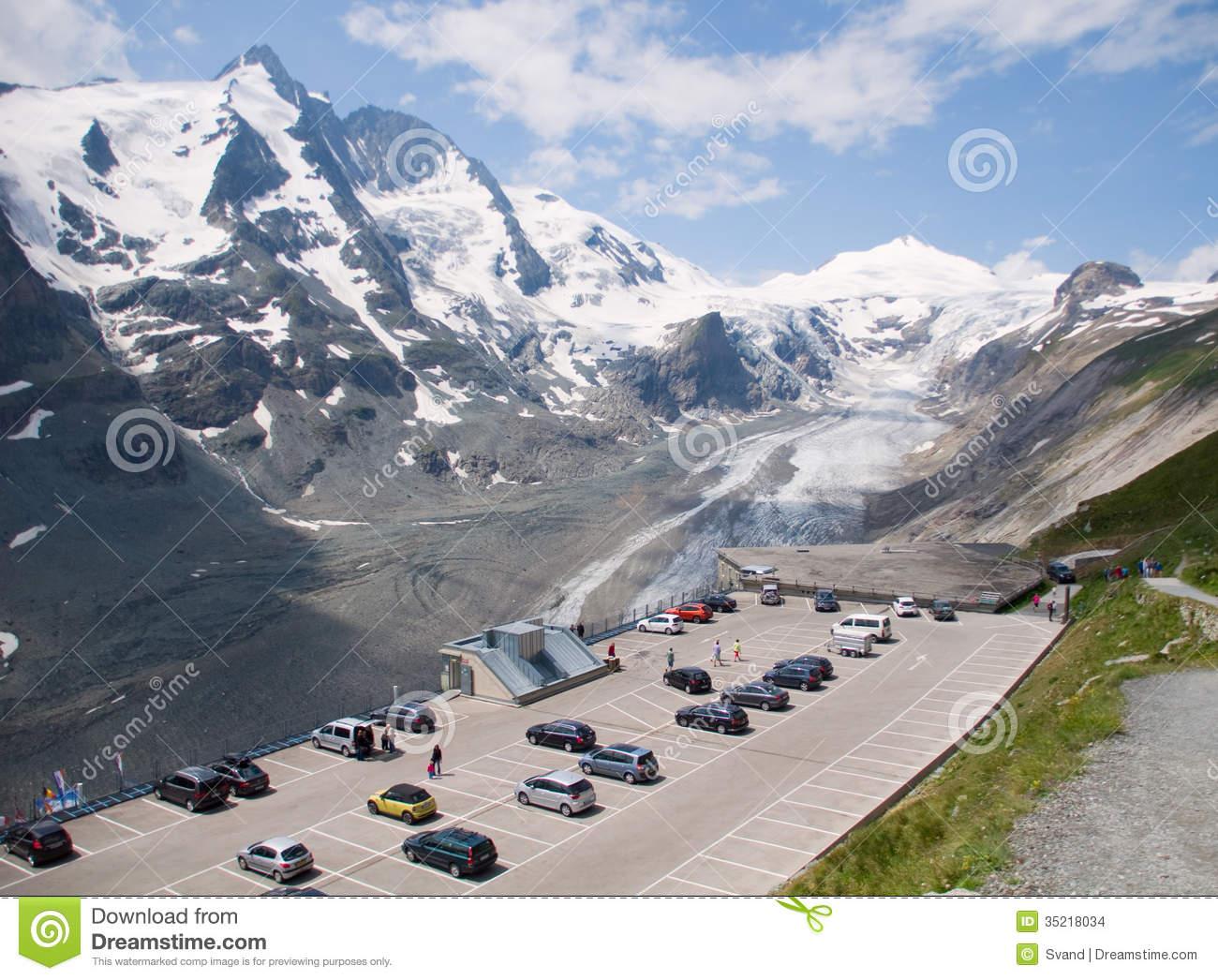 Parking On Top Glacier Pasterze. Austrian Alps Stock Images.