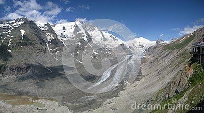 Pasterze Glacier And Grossglockner, Austria Stock Photo.