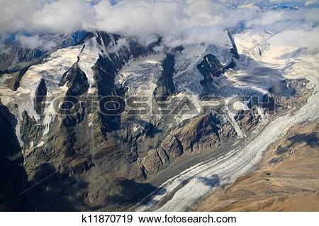 Stock Photograph of Pasterze Glacier at Großglockner massif.