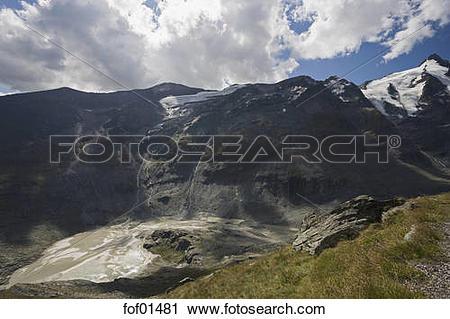 Stock Photography of Austria, Großglockner, Pasterze Glacier Lake.