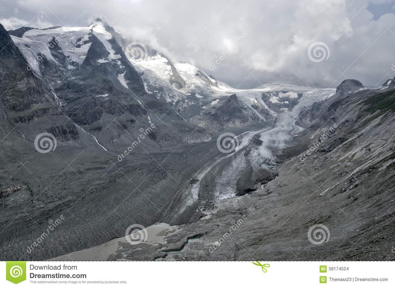 Austria Pasterze Glacier Panorama Melt Stock Photo.