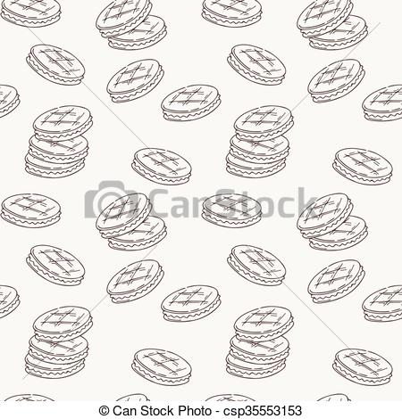 Clipart Vector of Seamless pattern of double cookies with a layer.