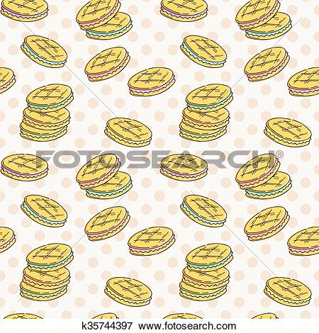 Clip Art of Seamless pattern of double cookies with a layer of.