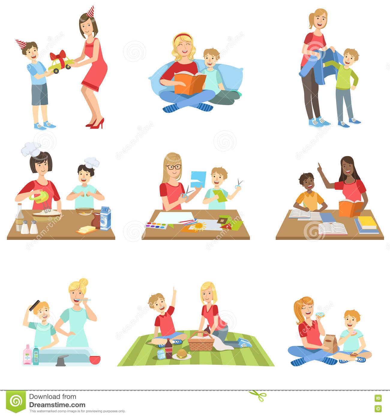 Cartoon Mother Teaching Child Stock Illustrations.