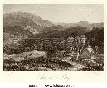 Clipart of Antique Illustration (wood engraving) of a Pastoral.