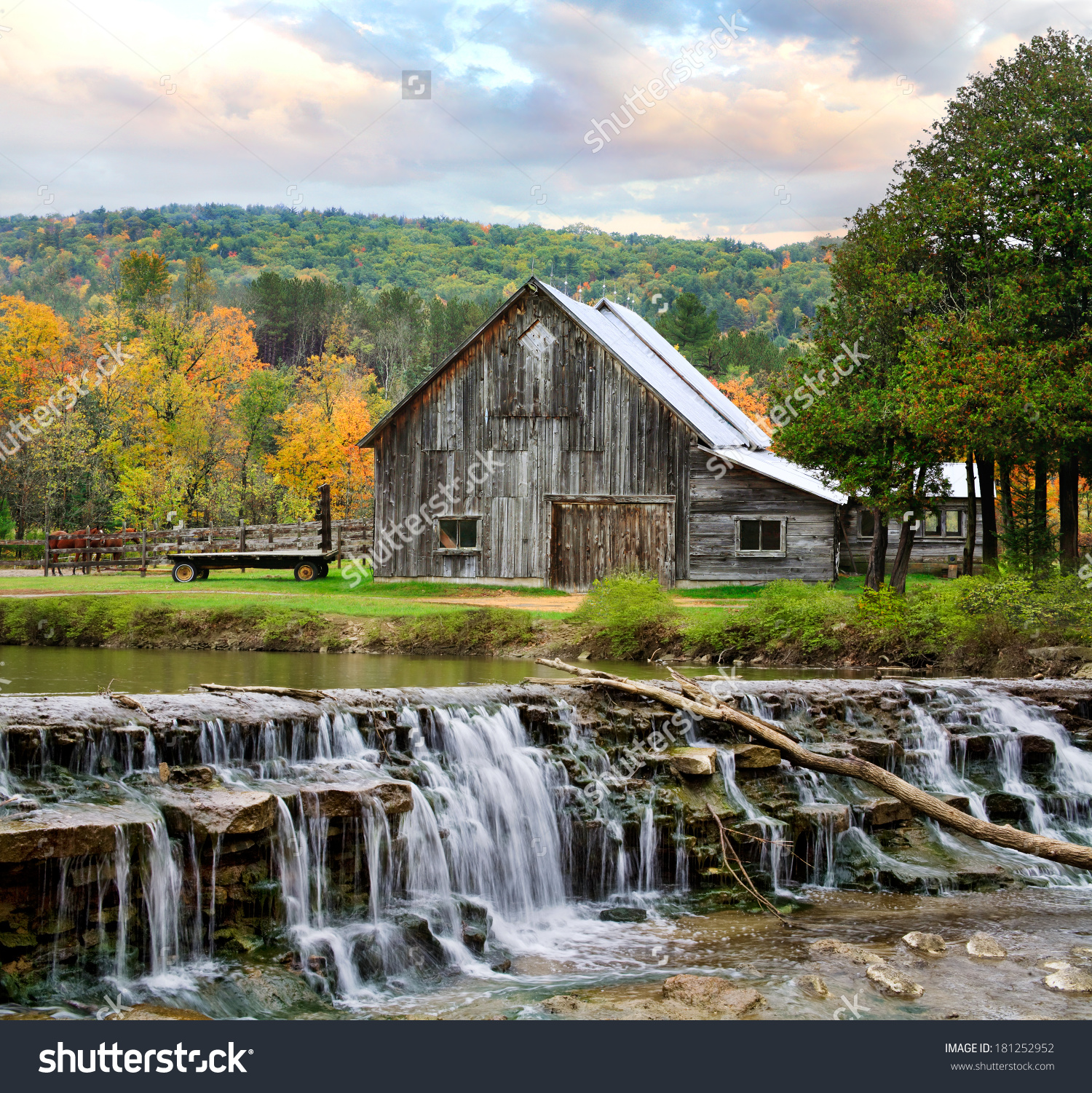 Pastoral Scene Old Barn Waterfall During Stock Photo 181252952.