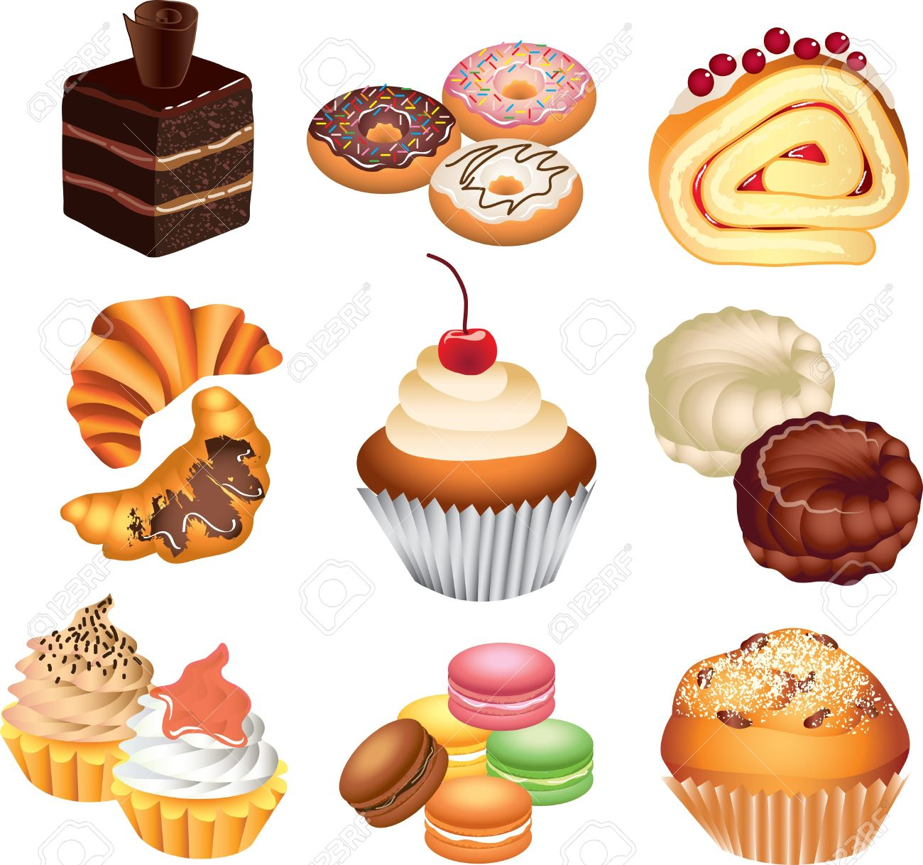 Pastries and cakes clipart.