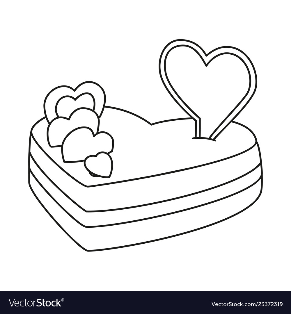 Line art black and white heart cake.
