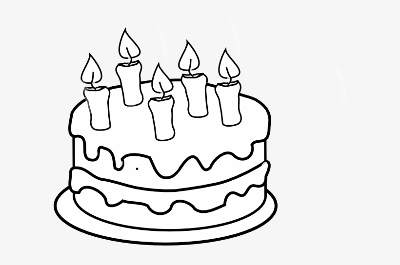 Clip Art Black And White Bday Cake 5 Candles Black.