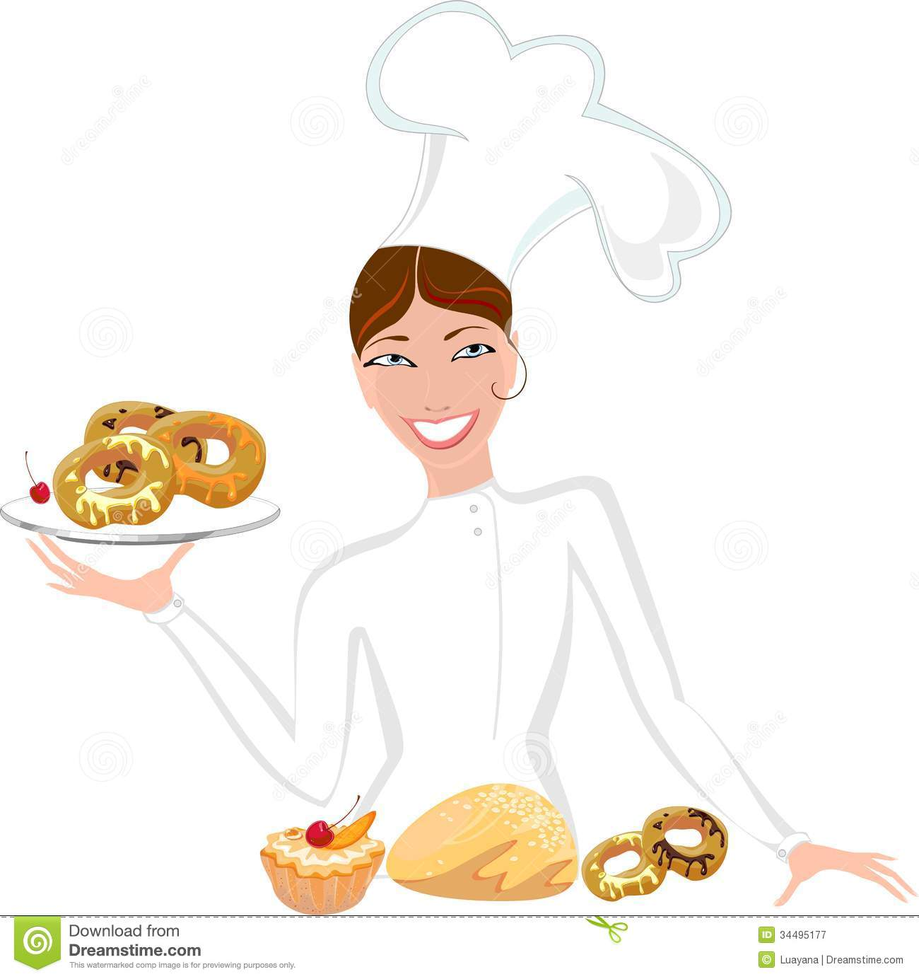 Girl pastry chef clipart.