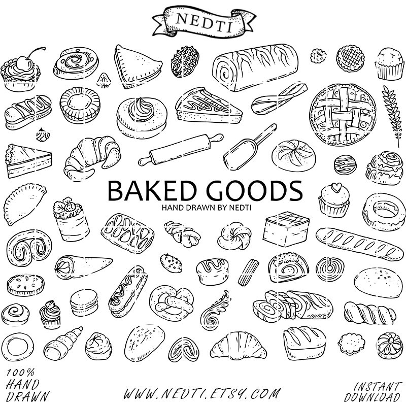 60 Pastry Doodle Clipart Elements, Baked Goods Clip art, Bakery.