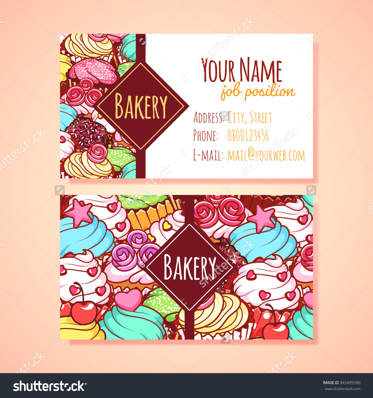 Two Horizontal Business Card Template Pastry Stock Vector.