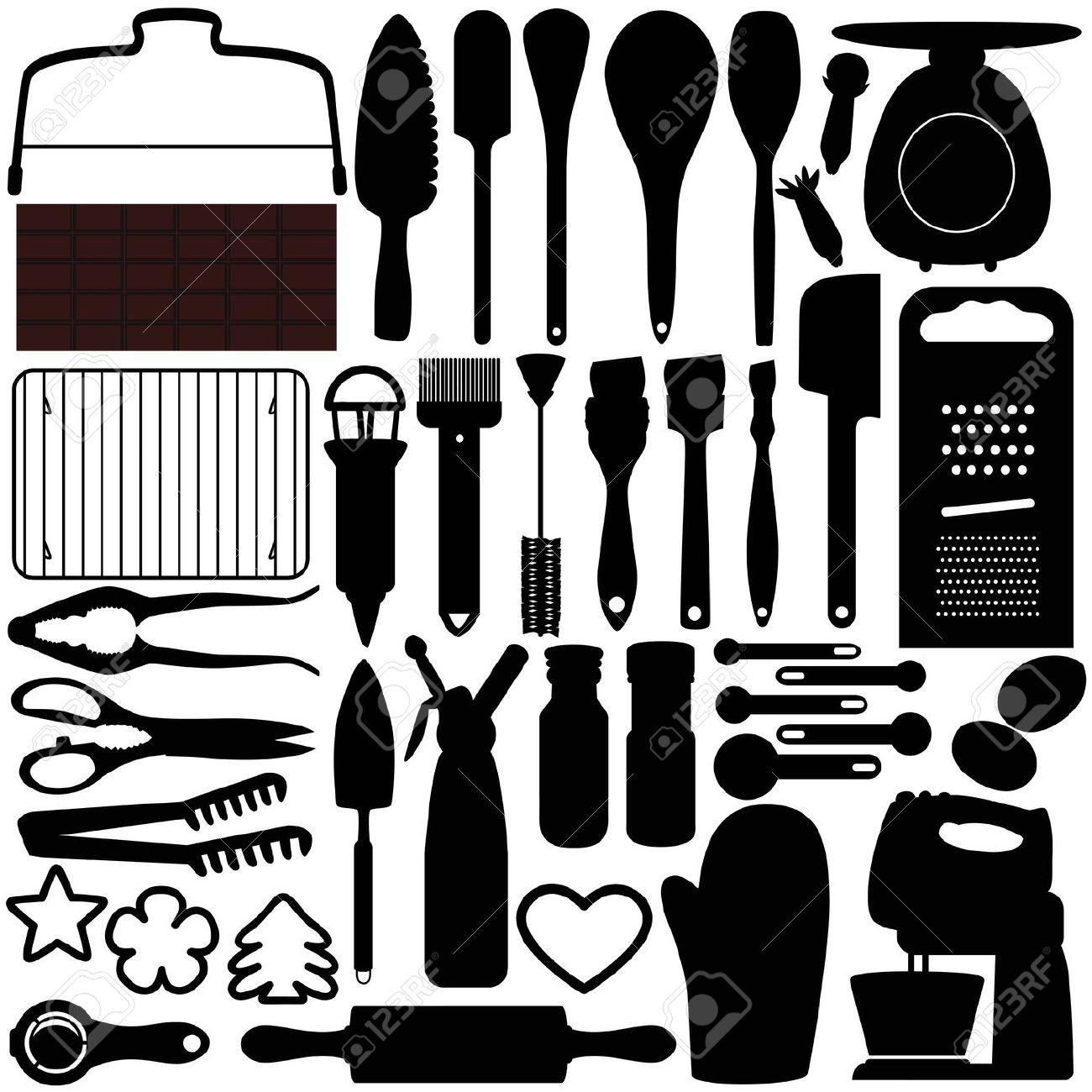 A Silhouettes Collection Of Cooking, Baking Tools Royalty Free.