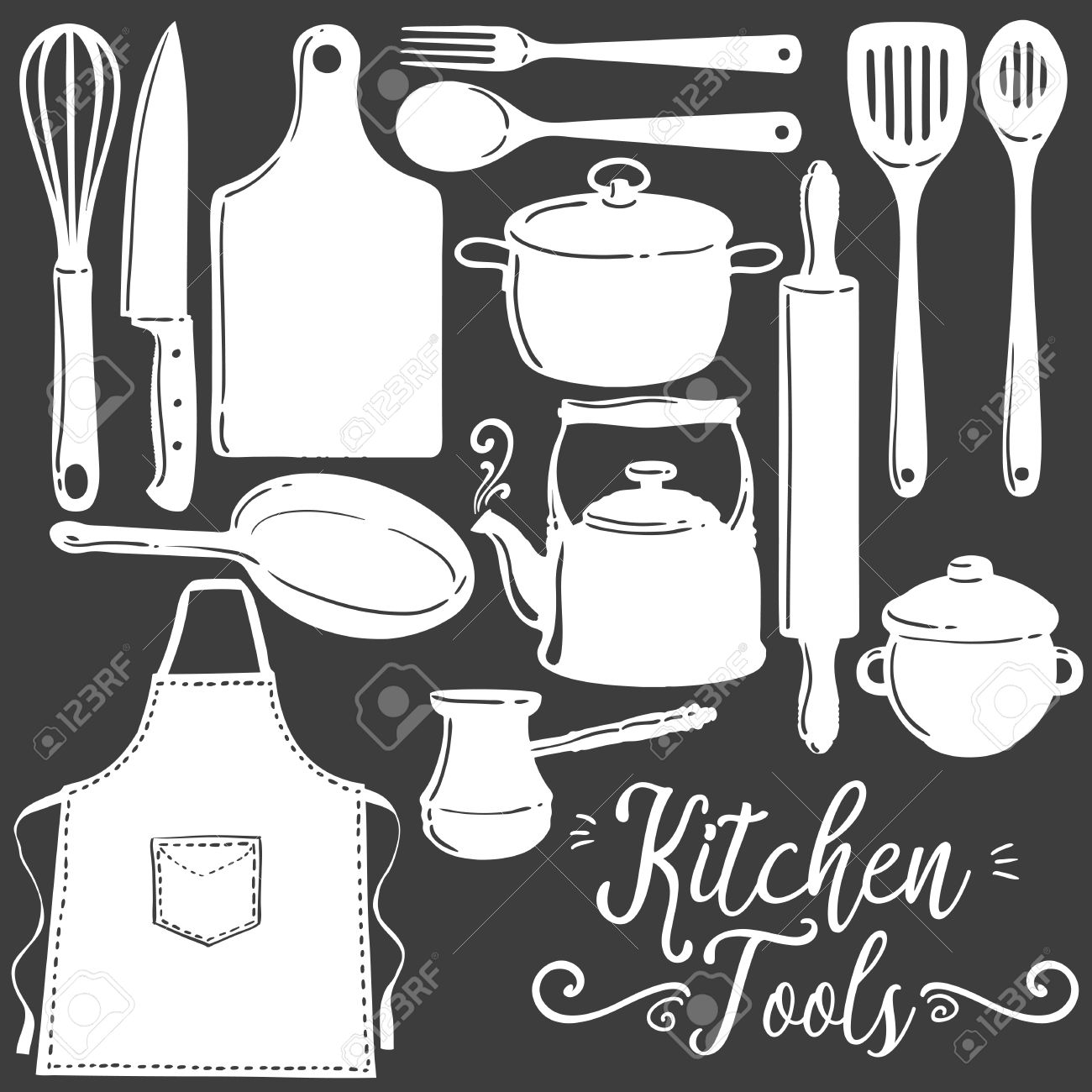 Kitchen Tools, Baking, Pastry Silhouette Flat Vector Set. Icon.