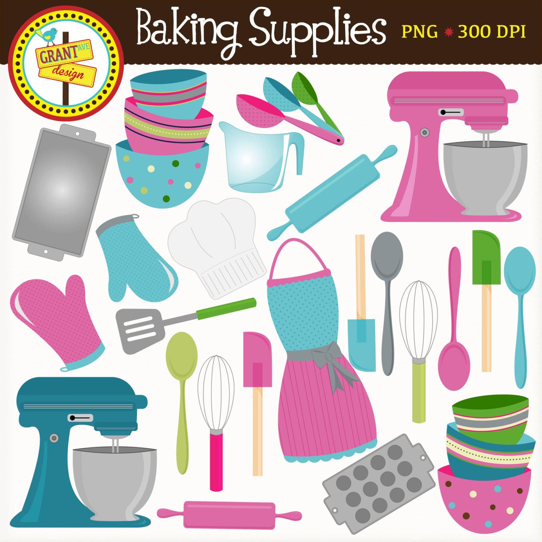 Baking utensils clip art.