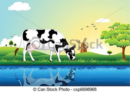 Vector of Grazing Cow.