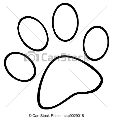 Vector of Outlined Paw Print Cartoon Character csp9029018.
