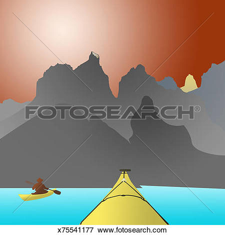 Stock Illustration of Kayaking in Torres Del Paine, Patagonia.