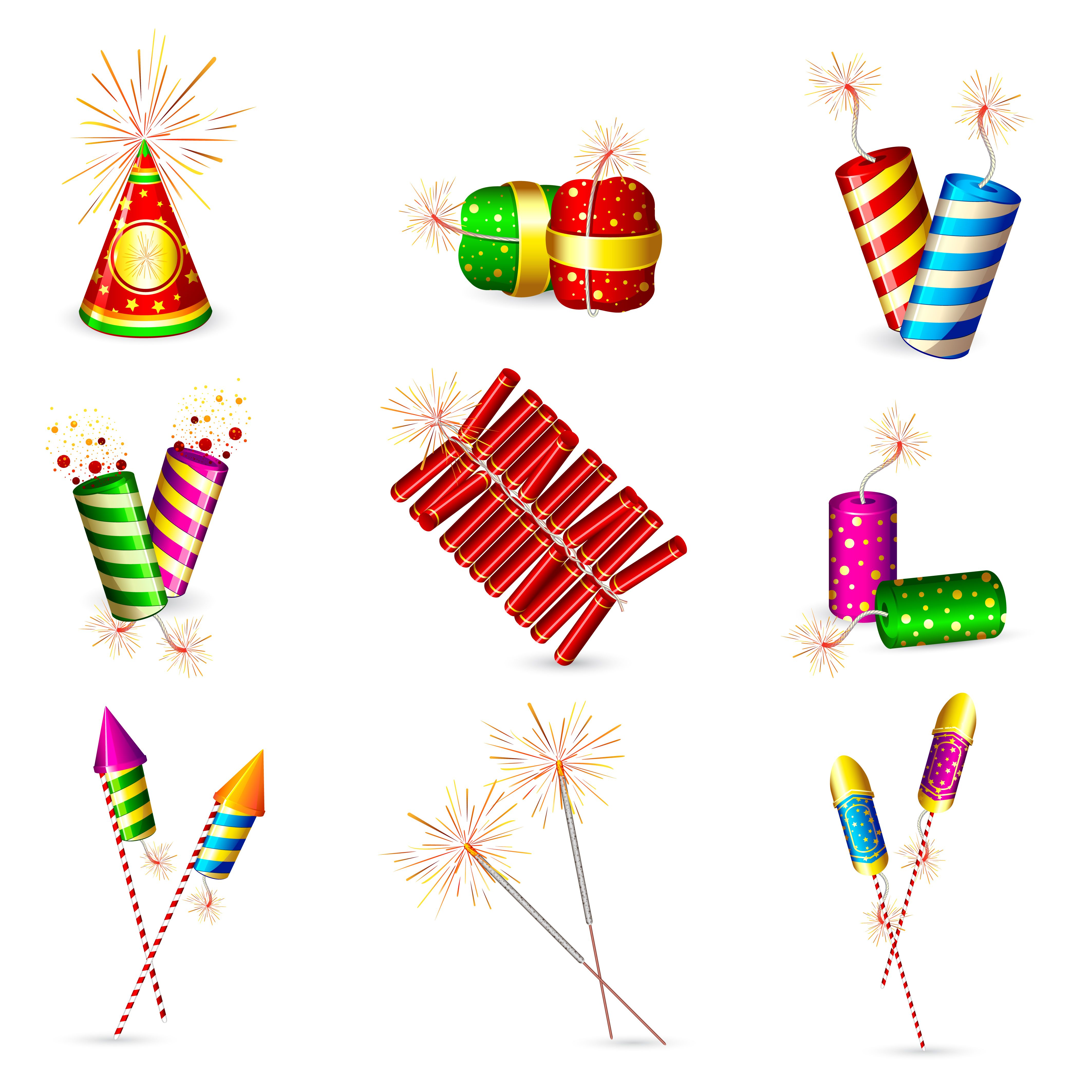 free vector Exquisite firecrackers 01 vector.