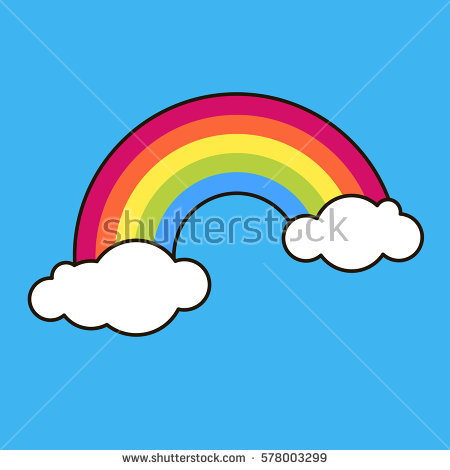 Vector Rainbow with Cloud Clip Art.