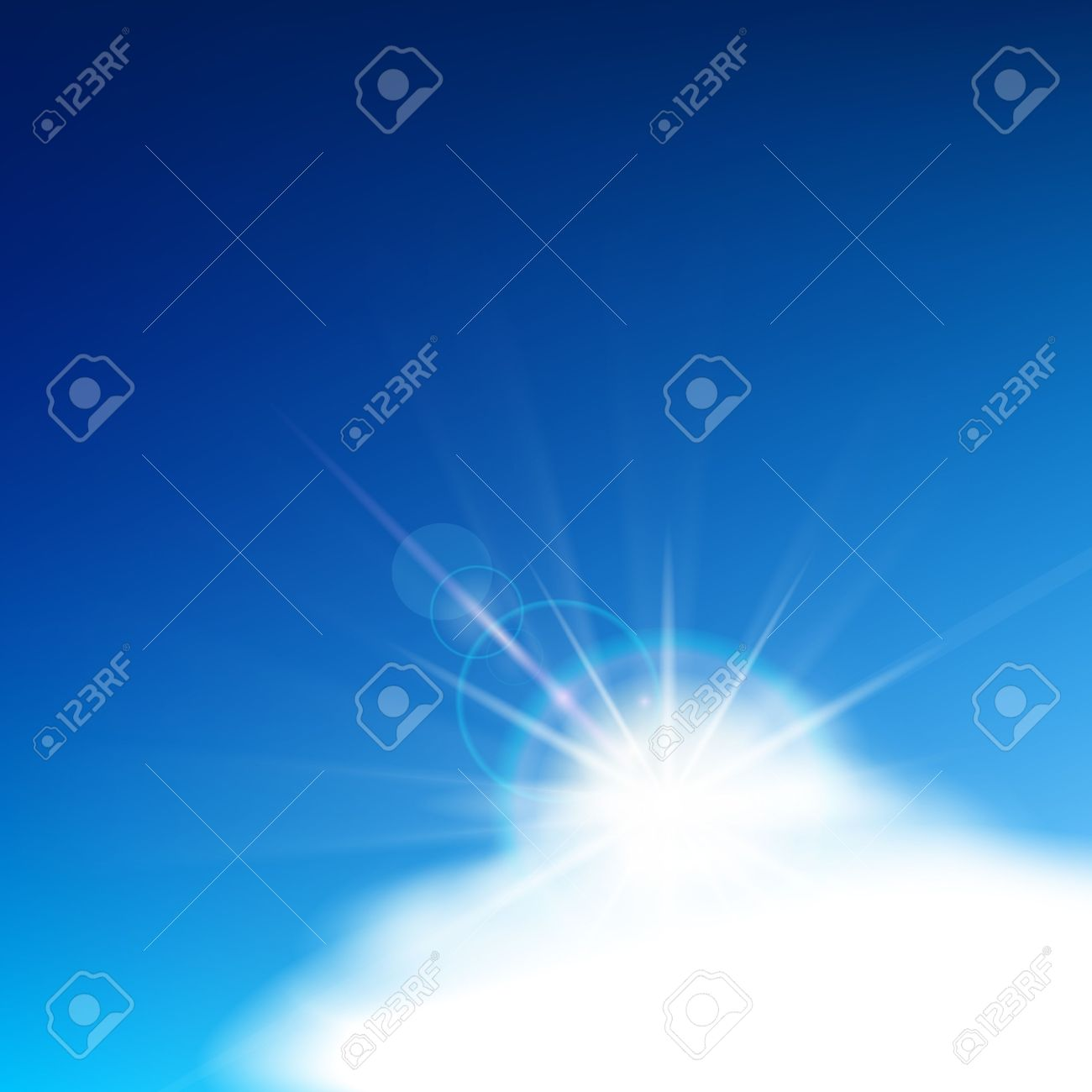 Bright Blue Sky With Easy Clouds And Solar Patch Of Light Royalty.