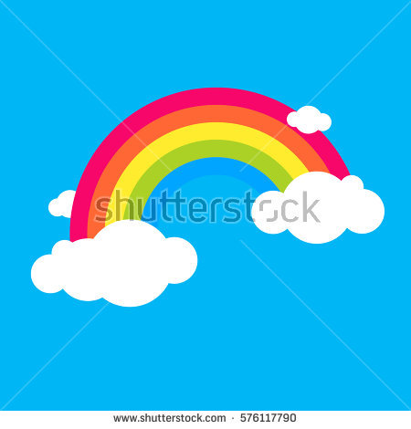 Cartoon Clouds Rainbow Stock Photos, Royalty.