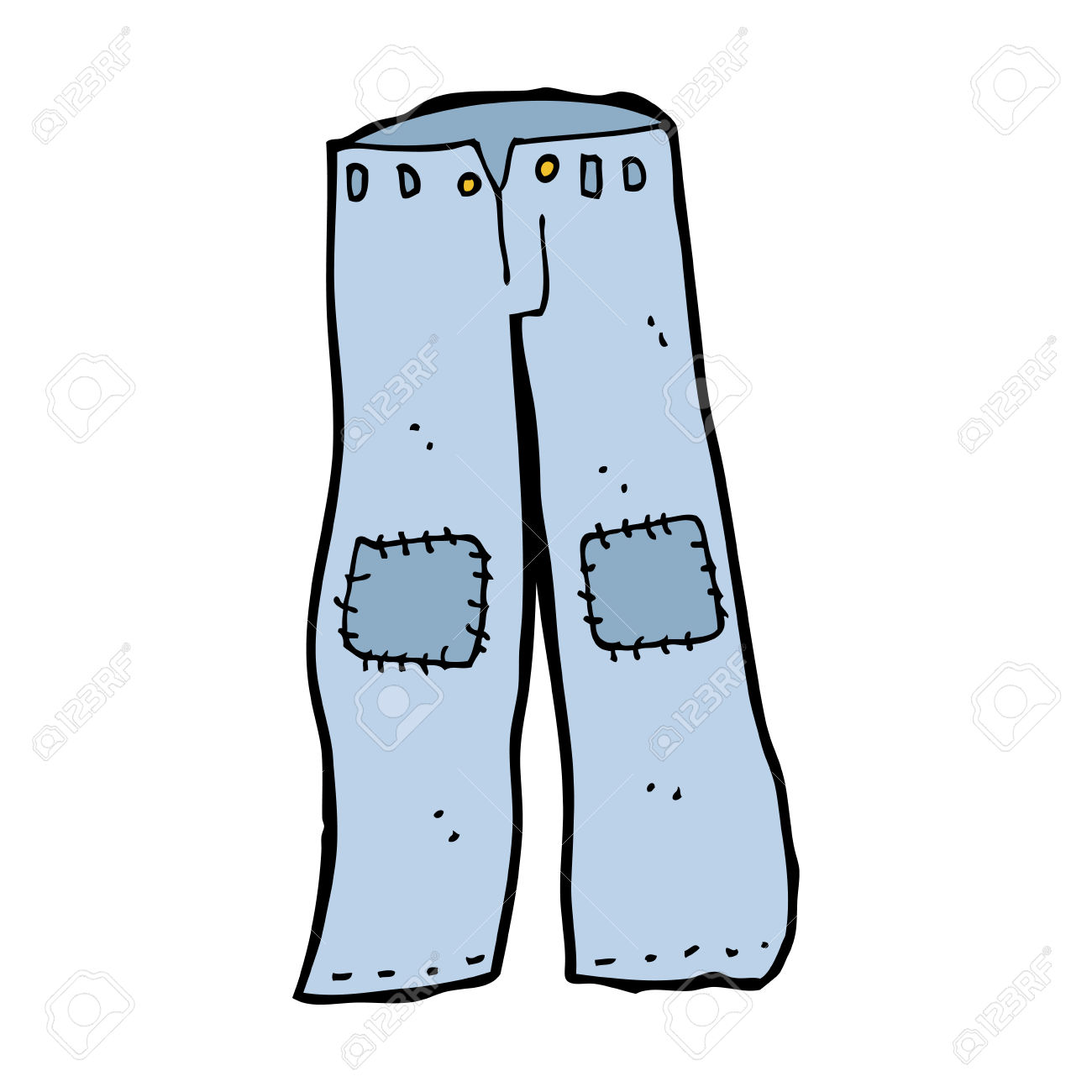 Cartoon Patched Old Jeans Royalty Free Cliparts, Vectors, And.