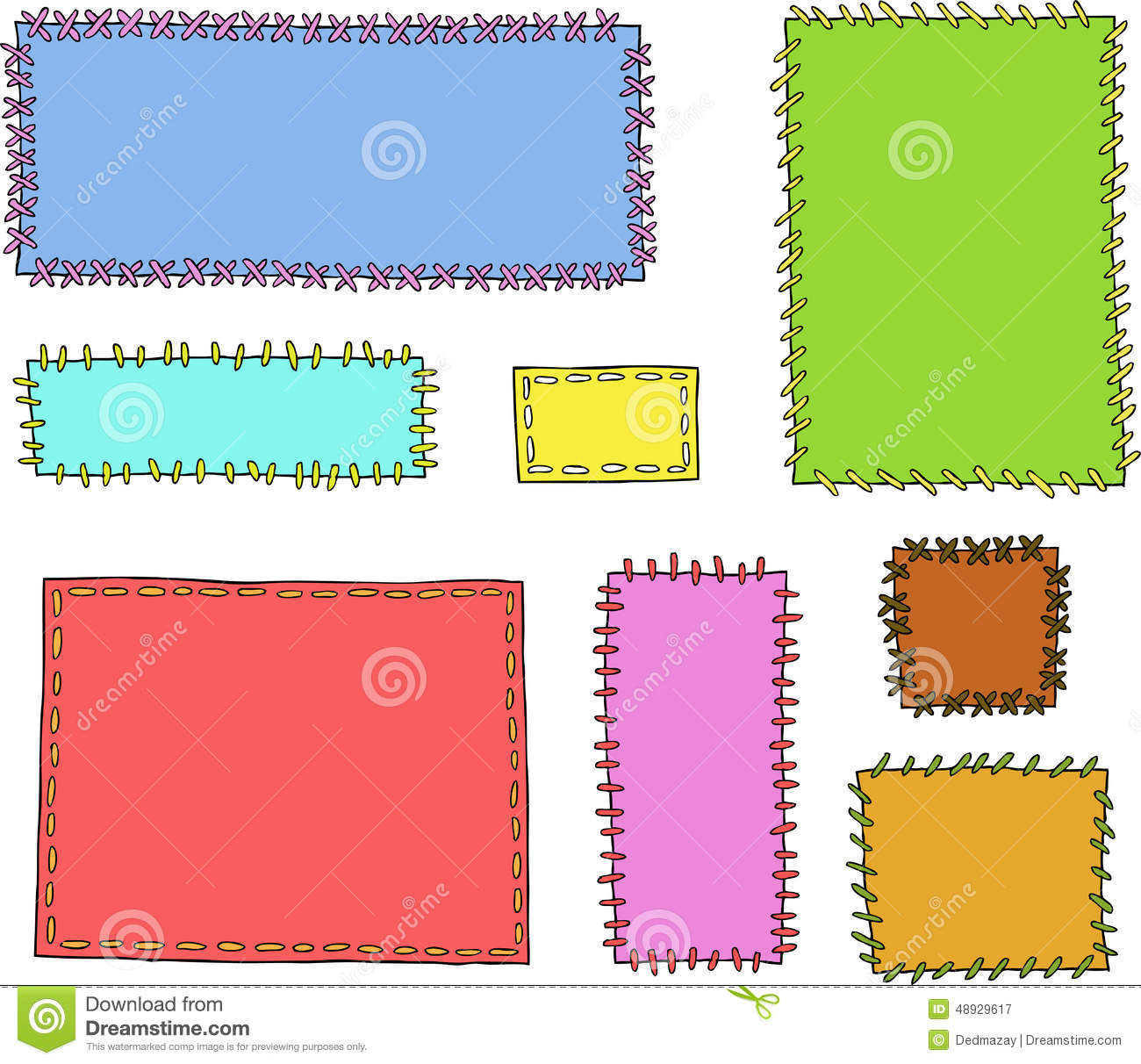 Set Textile Patches Stock Vector.