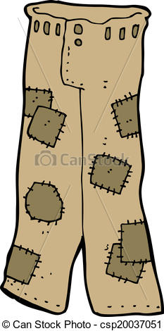 Clipart Vector of cartoon patched old pants csp20037051.
