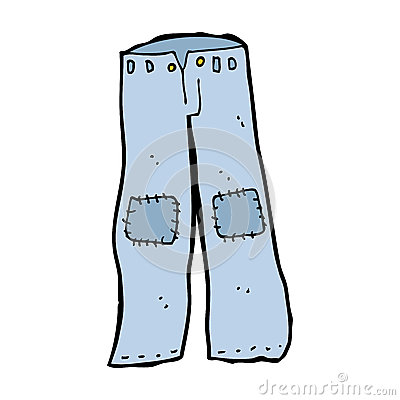 Cartoon Patched Old Jeans Royalty Free Stock Photography.