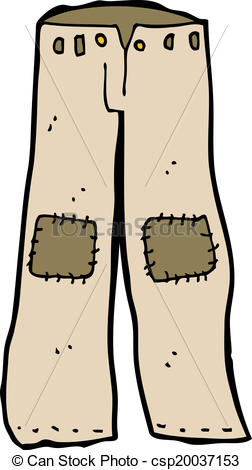 Clipart Vector of cartoon patched old pants csp20037153.