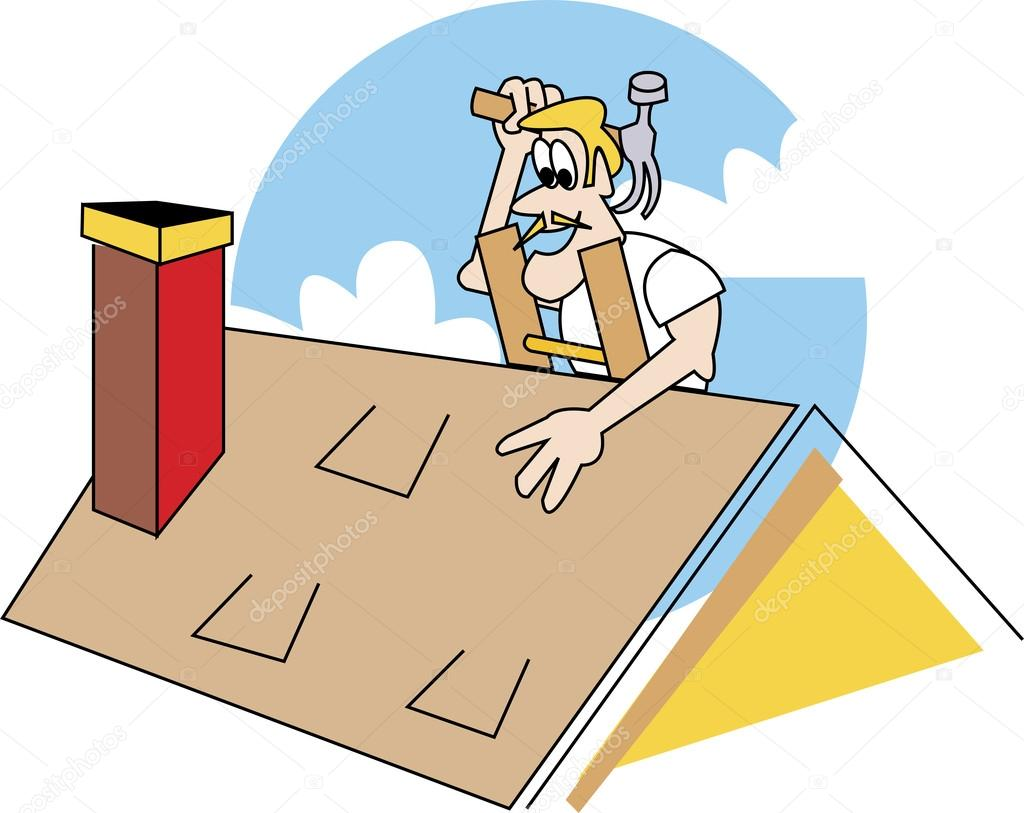 Blond Male Roofer On A Ladder, Patching A Roof — Stock Vector.