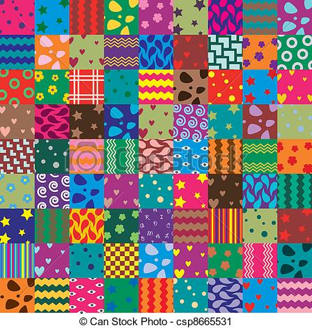 Vector Clip Art of vector patchwork fabric art background.