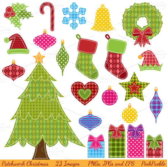 Christmas patchwork clipart.