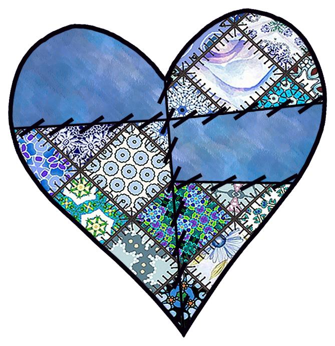 Patchwork Heart Clip Art.