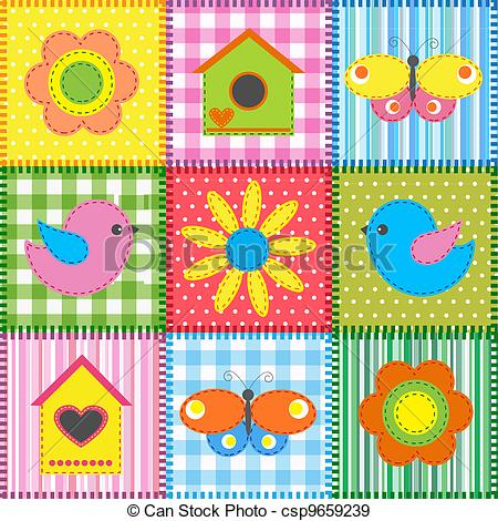 EPS Vectors of Patchwork with birdhouse.