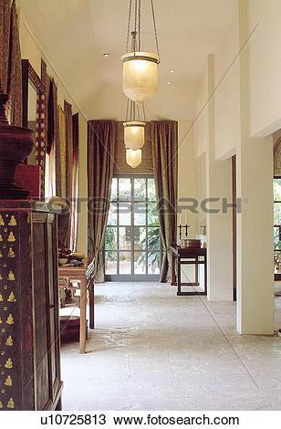 Stock Photo of pillars, lightings, Pillar, curtains, Glass door.