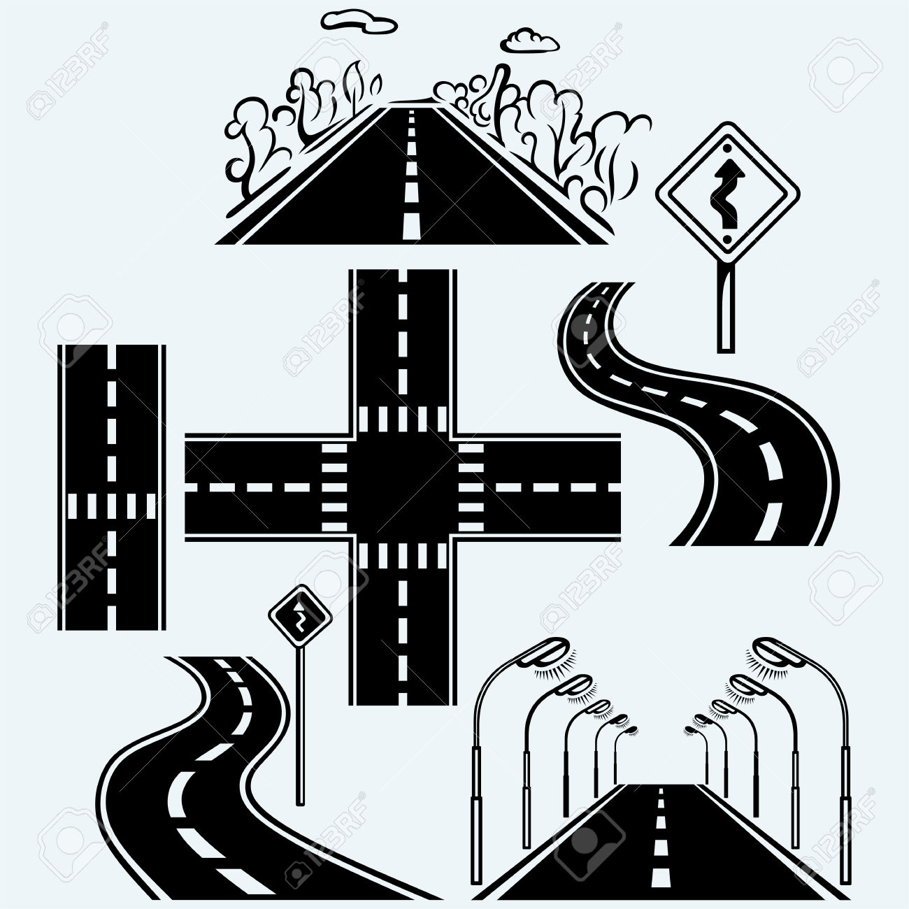 Road Symbols With Winding Highways, Forked Pathways And Crossroads.