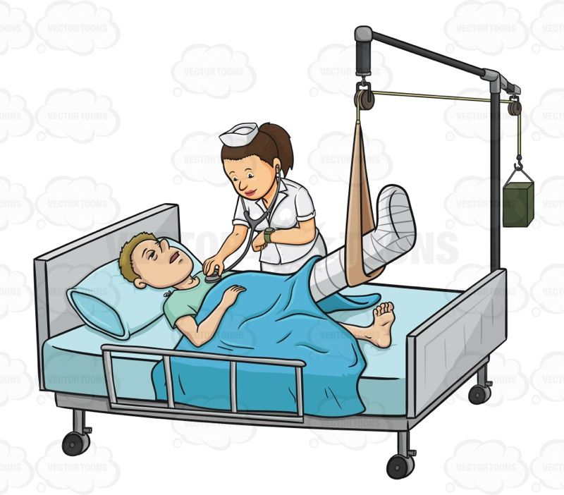 Sick Male Patient Laying In In A Hospital Bed While A Nurse.
