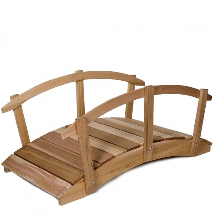 6' Wooden Bridge Cedar Plank Garden Bridge with Rails.