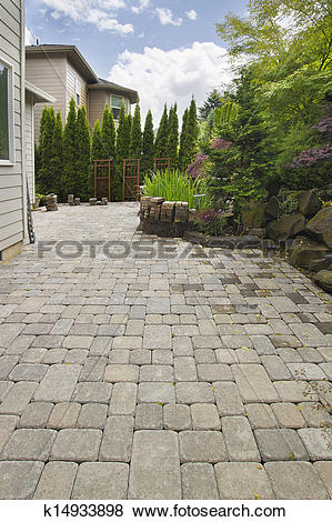 Pictures of Backyard Brick Paver Patio with Pond k14933898.