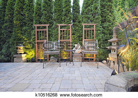 Pictures of Paver Patio with Garden Decoration k10516268.