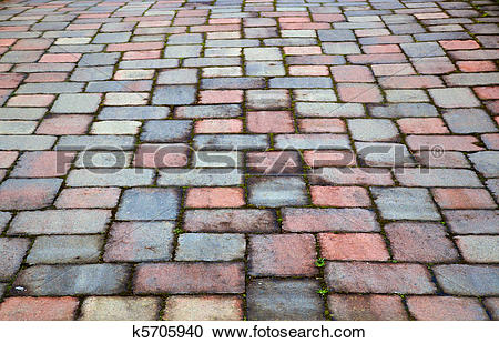 Stock Photography of Red and blue paver patio k5705940.