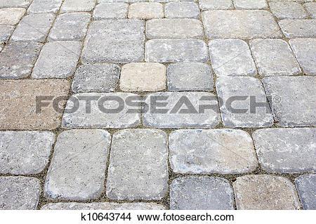 Stock Photo of Backyard Concrete Pavers Patio k10643744.