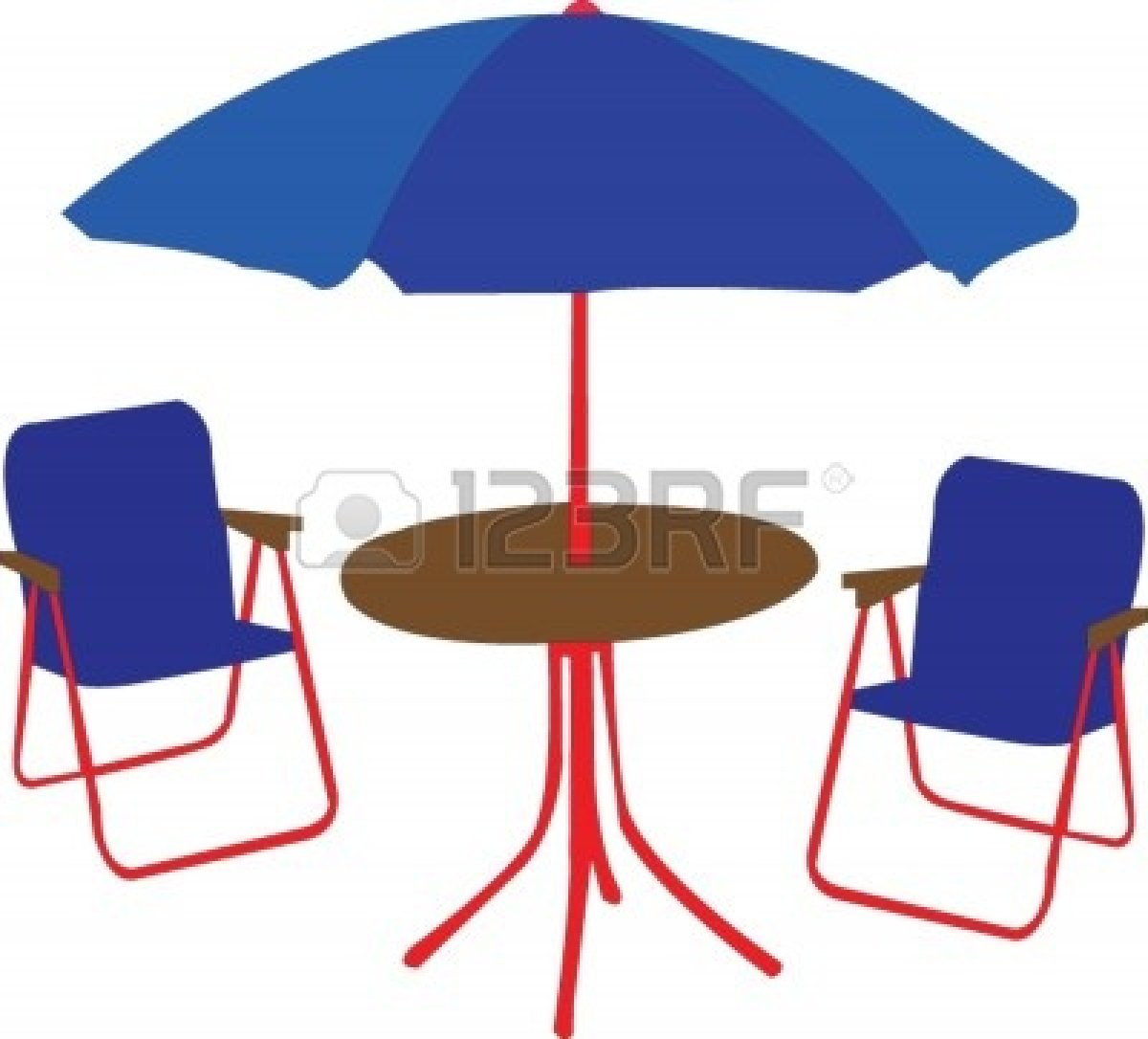 Patio Table With Umbrella Clipart.