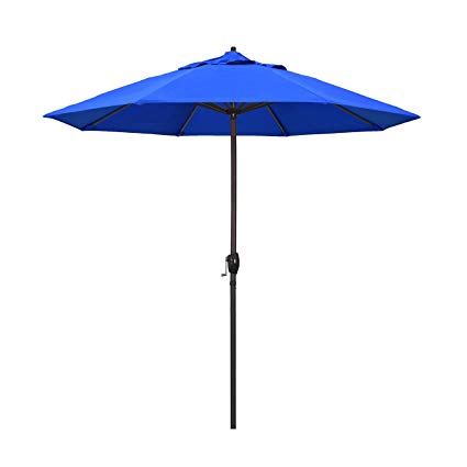 California Umbrella 9\' Round Aluminum Market Umbrella, Crank Lift, Auto  Tilt, Bronze Pole, Royal Blue Olefin.