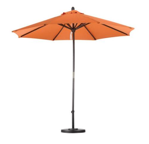 9 Foot Wood Tuscan Orange Patio Umbrella with stand.
